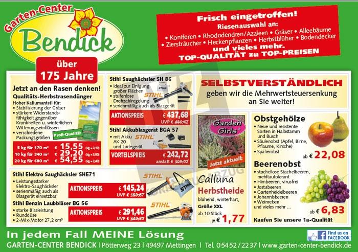 Herbstangebote Pflanzen und Gartengeräte bei Bendick in Mettingen