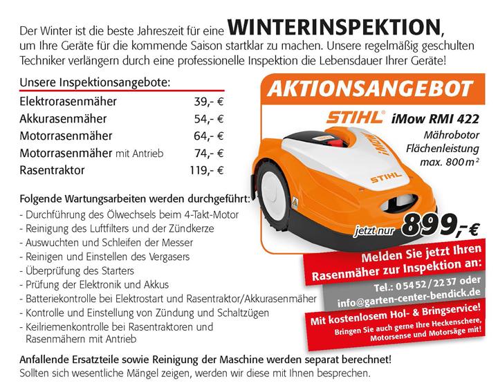 Motorgeräte Winterinspektion bei Bendick in Mettingen